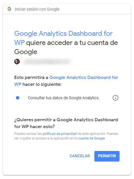 Página de autorización de Google Analytics