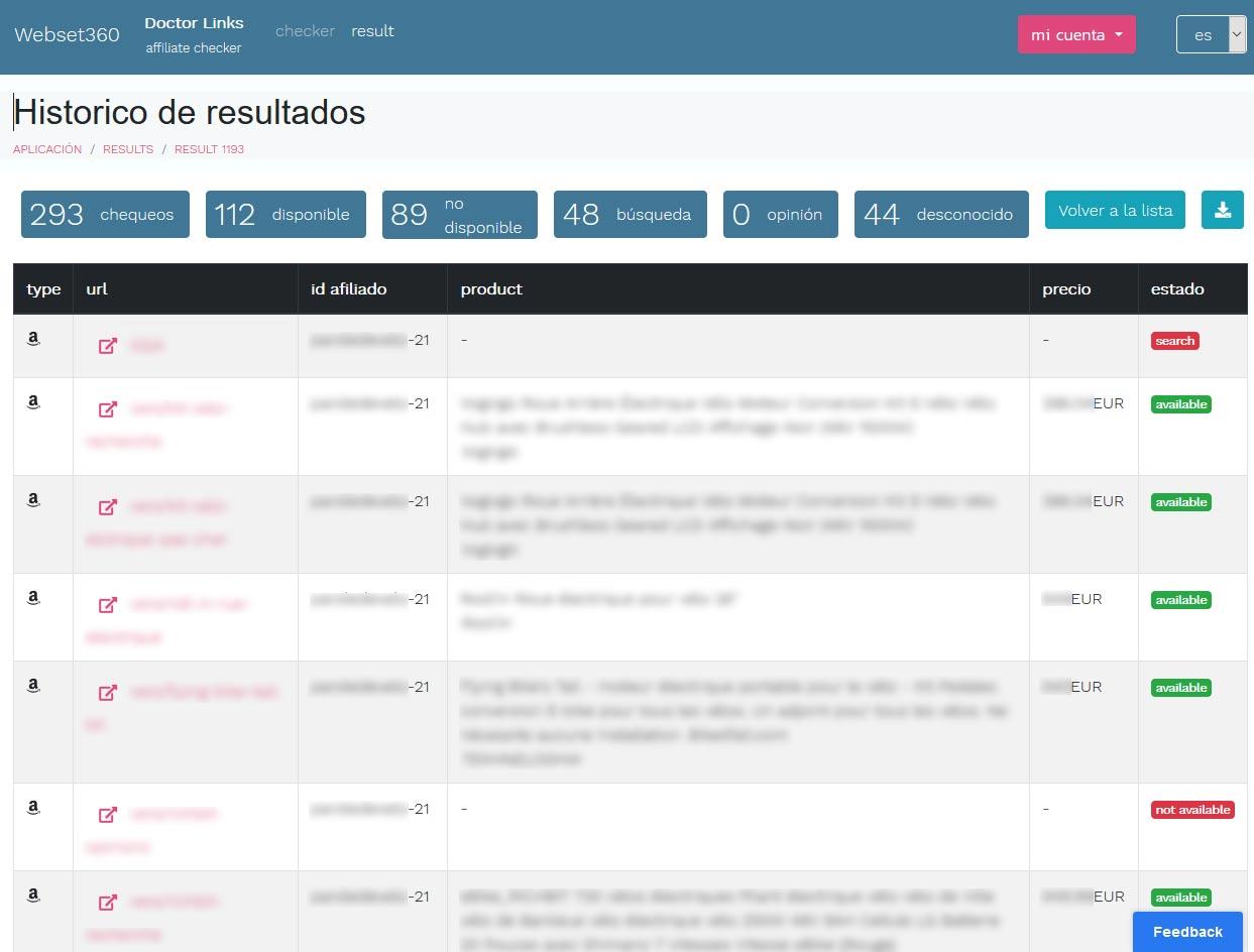 verificar links de resulado de busqueda de amazon en wordpress
